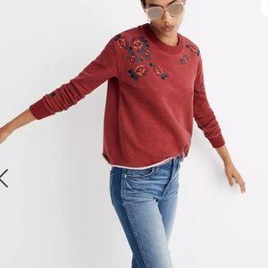 Miles Madewell Embroidered Cut Off Sweatshirt Crimson M